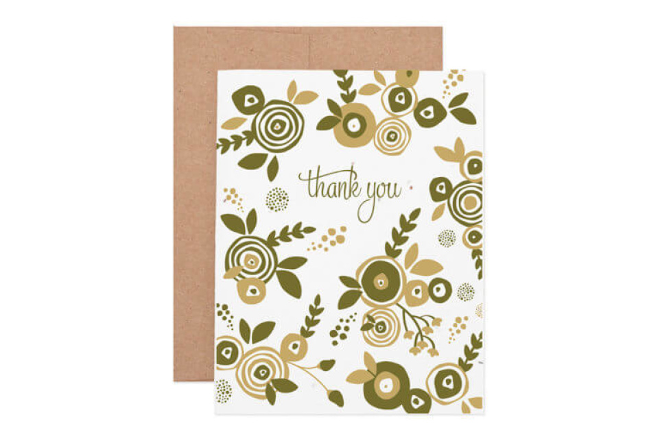 Flower thank you seeded greeting card single card m4hsunfo